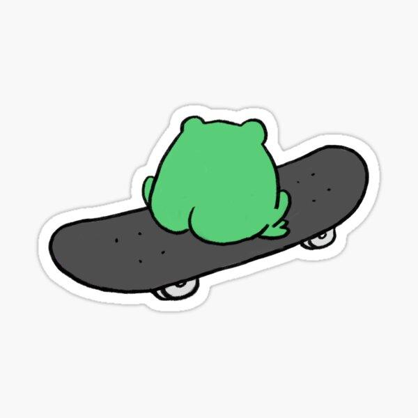 Frog On Skateboard Back View Sticker