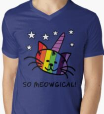 Unicorn Cat UniKitty So Meowgical T Shirt Men's V-Neck T-Shirt