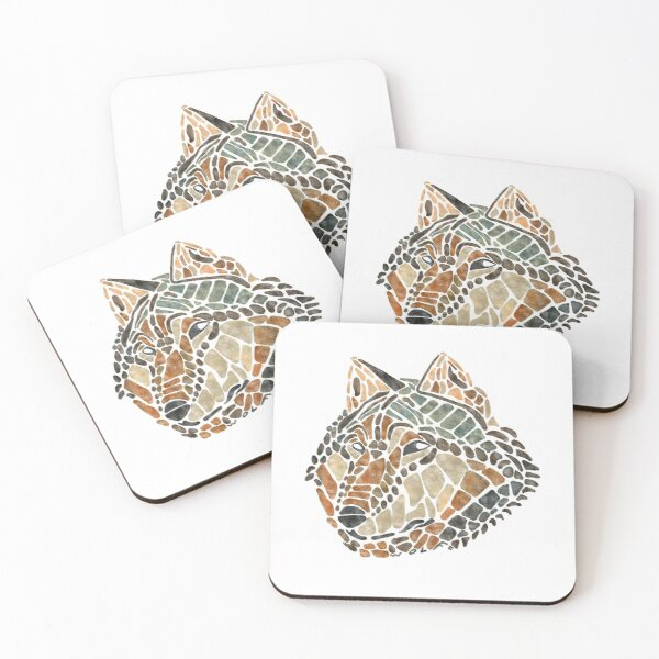 Brown Wolf Painted Mosaic Illustration Coasters (Set of 4)