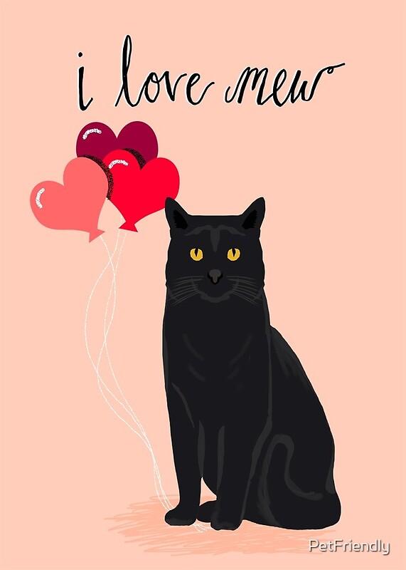 cat valentines card cute i love mew valentines black cat card by petfriendly - Cat Valentine Cards