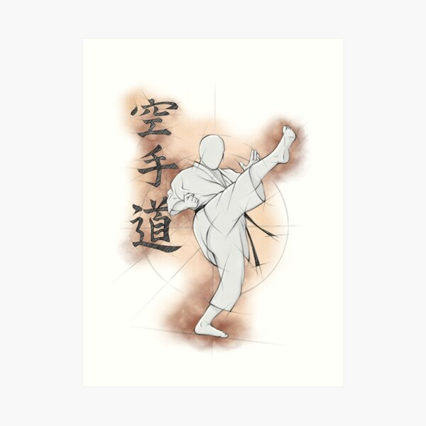 Karate Kick | Mae geri drawing by Fiore Tartaglia Kunstdruck