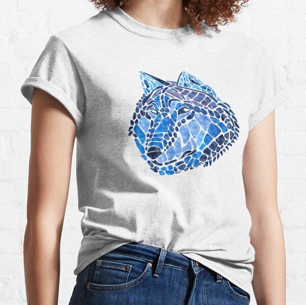 Blue Wolf Painted Mosaic Illustration Classic T-Shirt