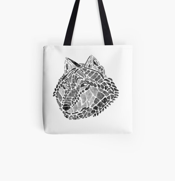 Black Wolf Painted Mosaic Illustration All Over Print Tote Bag