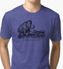 Mammoth confronts a sabre-toothed tiger Tri-blend T-Shirt