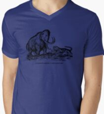 Mammoth confronts a sabre-toothed tiger Mens V-Neck T-Shirt