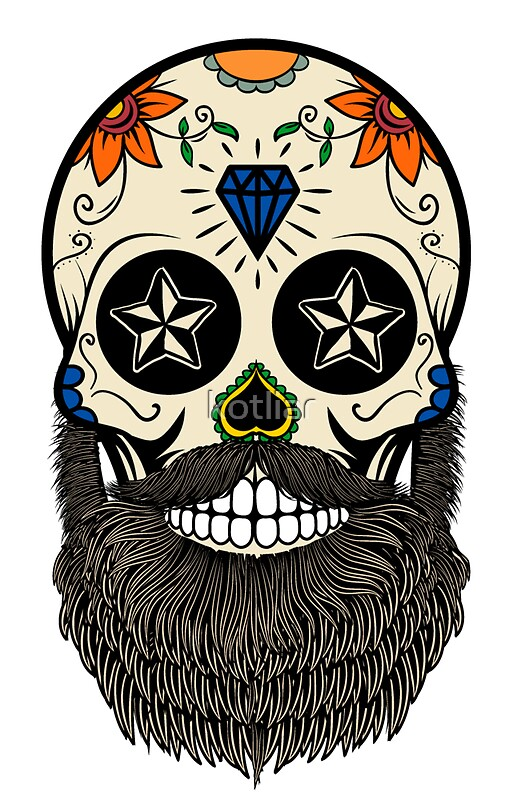 Sugar skull with beard by kotliar