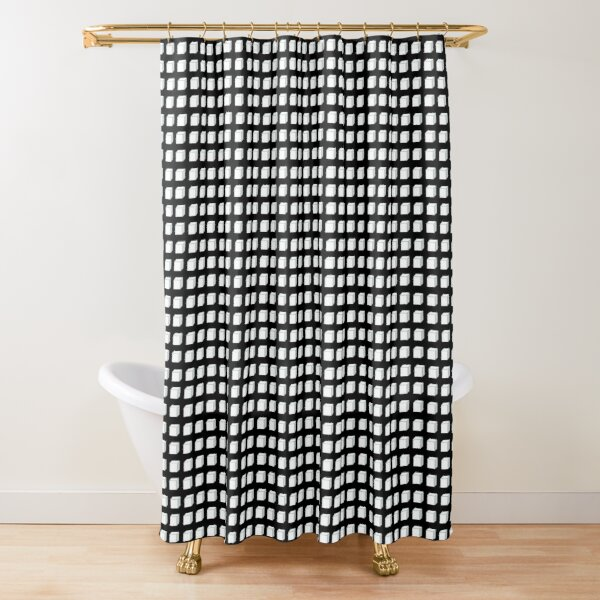 Black and White Cube  Shower Curtain