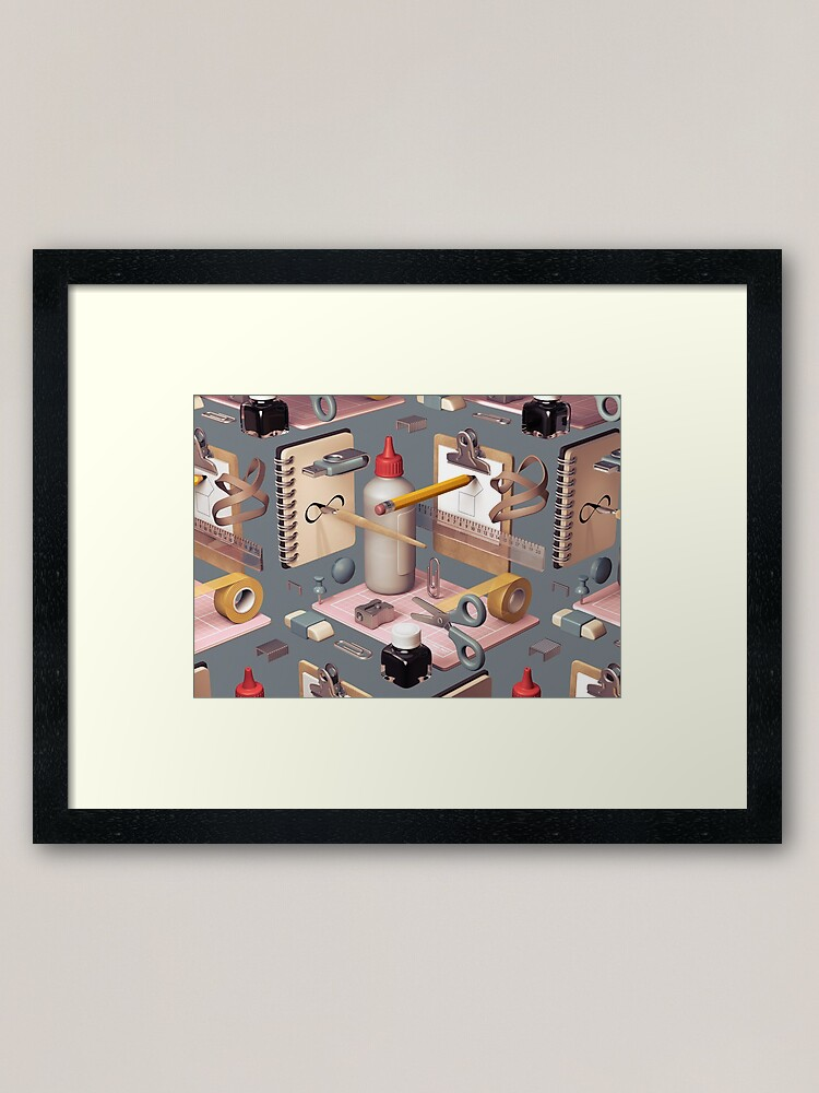Alternate view of 'Infinity', a 3D composition of stationary items. Framed Art Print