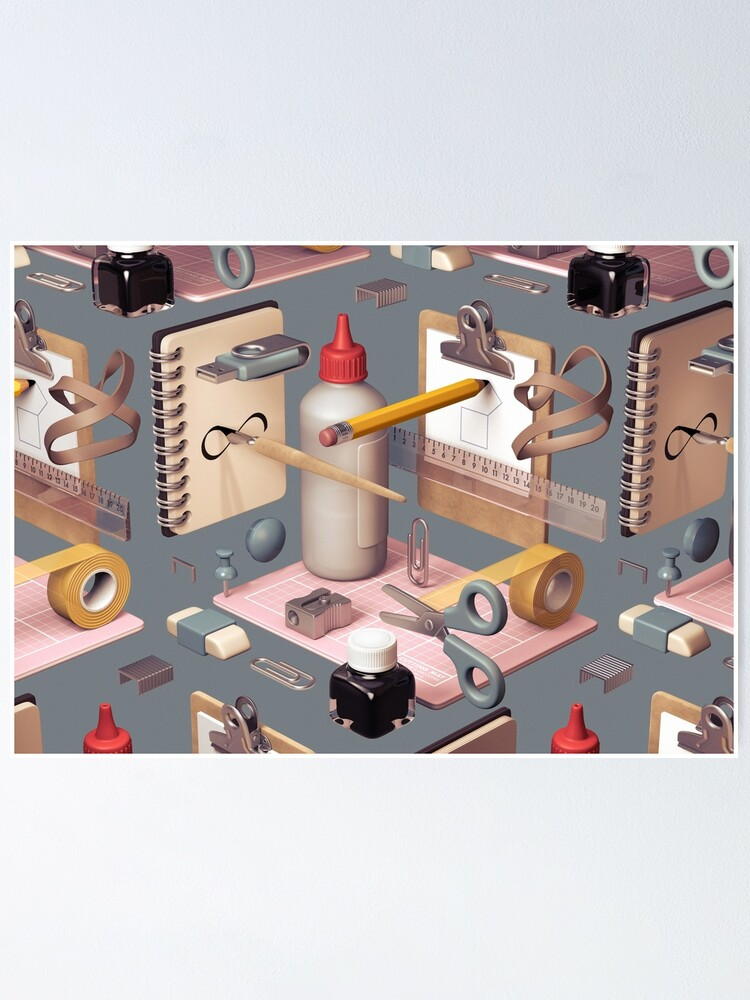 Alternate view of 'Infinity', a 3D composition of stationary items. Poster