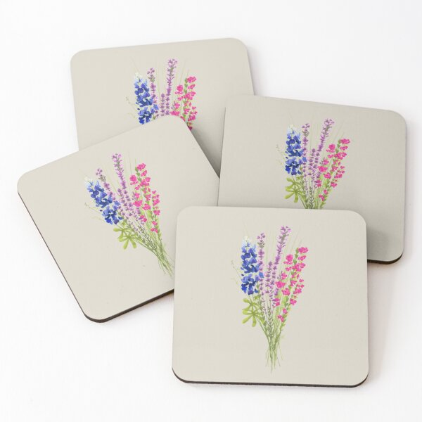 subtle bi pride flowers Coasters (Set of 4)