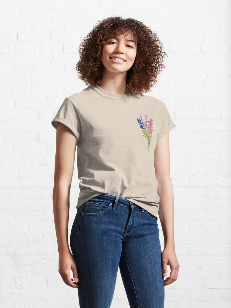 Alternate view of subtle bi pride flowers Classic T-Shirt