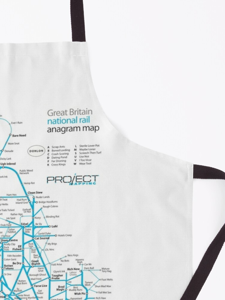 Alternate view of Great Britain national rail anagram train map Apron