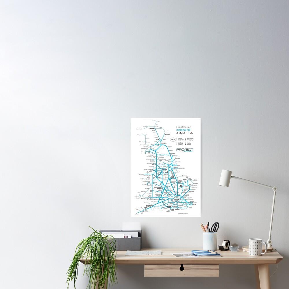 Great Britain national rail anagram train map Poster