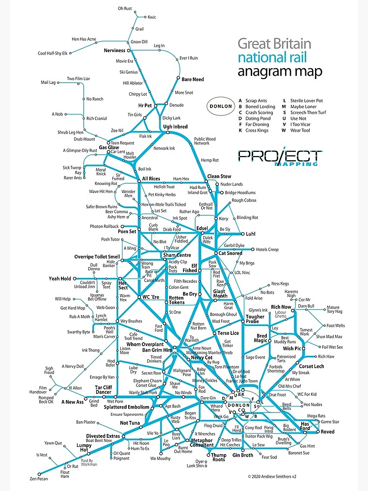 Great Britain national rail anagram train map by MrMappy