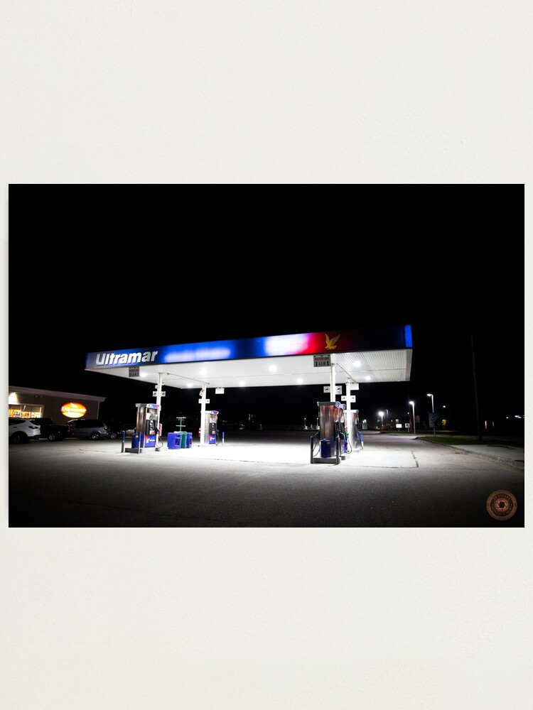 Alternate view of Ultramar - Gas station by night Photographic Print
