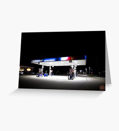 Ultramar - Gas station by night Greeting Card
