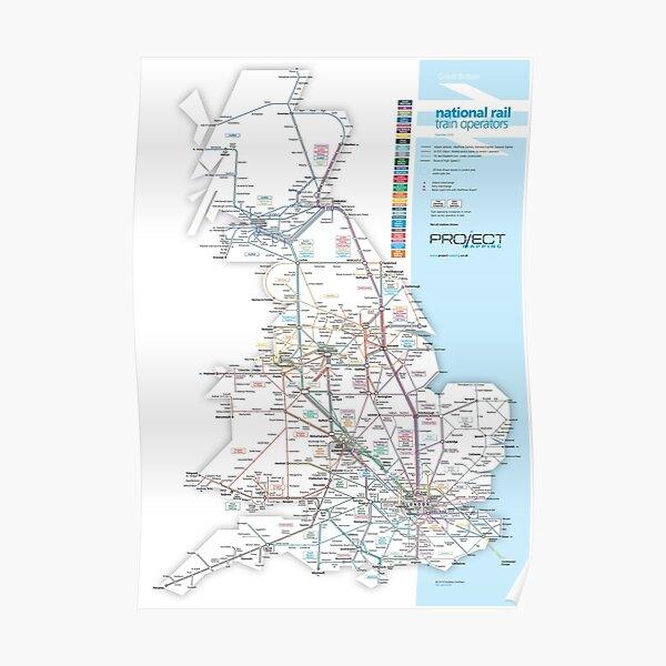 Great Britain national rail train operators map Poster
