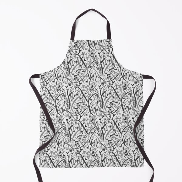 Grayscale watercolor seamless floral pattern Apron