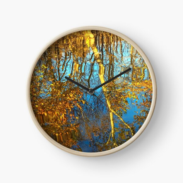 Reflections of trees in the river Clock