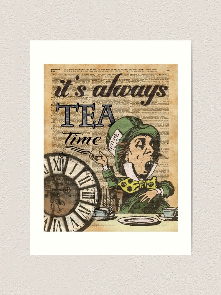 Mad Hatter Dictionary Art Print Alice in Wonderland Picture Poster Quote Vintage