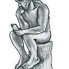 The thinking man with cell phone by matan kohn