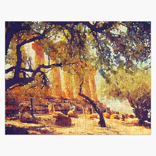 Temple and Olive Trees, Agrigento, Sicily Jigsaw Puzzle
