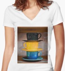 Cups #1b Women's Fitted V-Neck T-Shirt