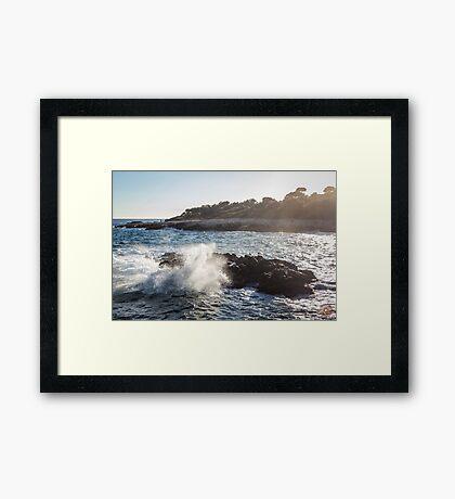 Waves Crashing on Rocks - Southern France Framed Print