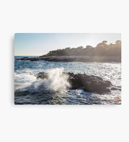 Waves Crashing on Rocks - Southern France Metal Print
