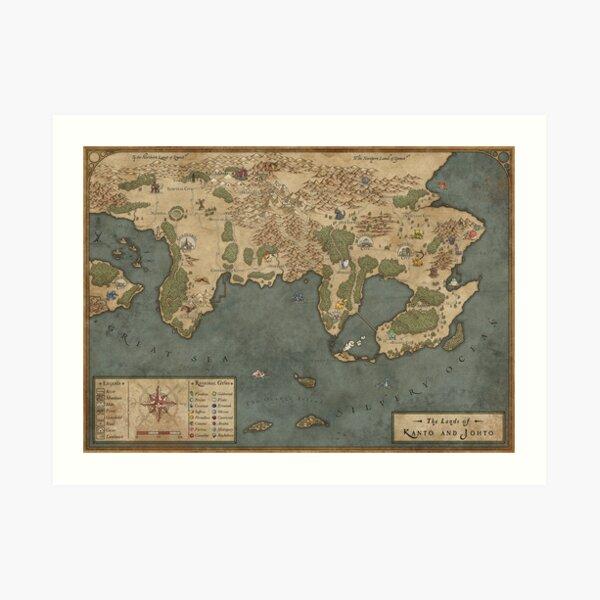 Kanto-Karte der 1. Generation - Giclée-Karte Kunstdruck