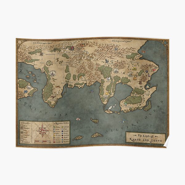 1st Generation Kanto Map - Giclee Map Poster