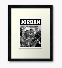 Michael Jordan (Championship Trophy BW) Framed Print