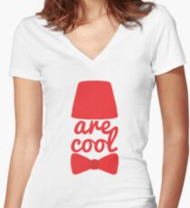 Bowties/Fezzes are Cool Women's Fitted V-Neck T-Shirt