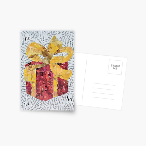 Golden Ribbon Wrapped Gift - Christmas Collection Postcard