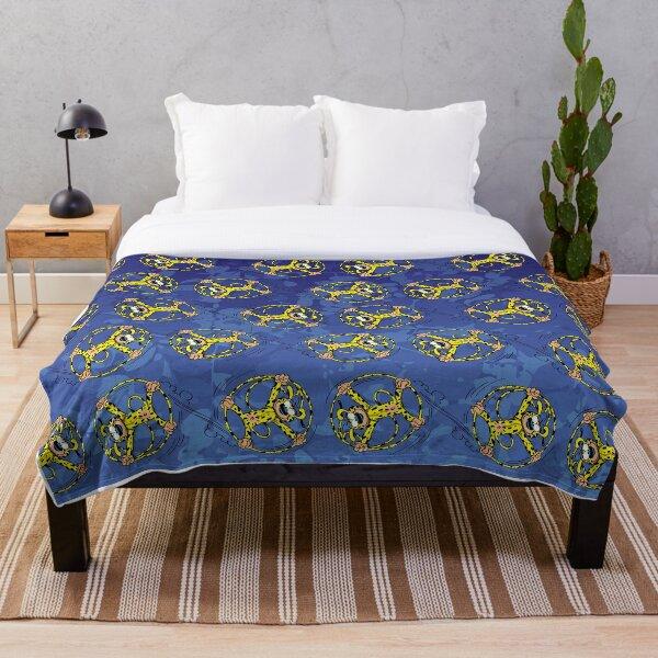 Marsupilami rolling in tail / Dark blue / Pattern Throw Blanket