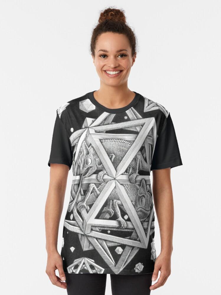 Alternate view of MC Escher Halftone Graphic T-Shirt
