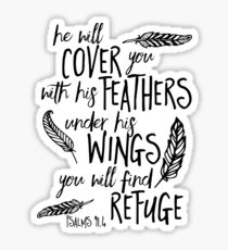 He will Cover You Feathers Bible Verse Sticker