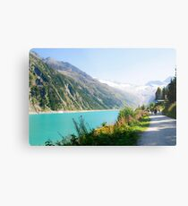 Schlegeis dam and reservoir with the Schlegeis glacierin the background Metal Print