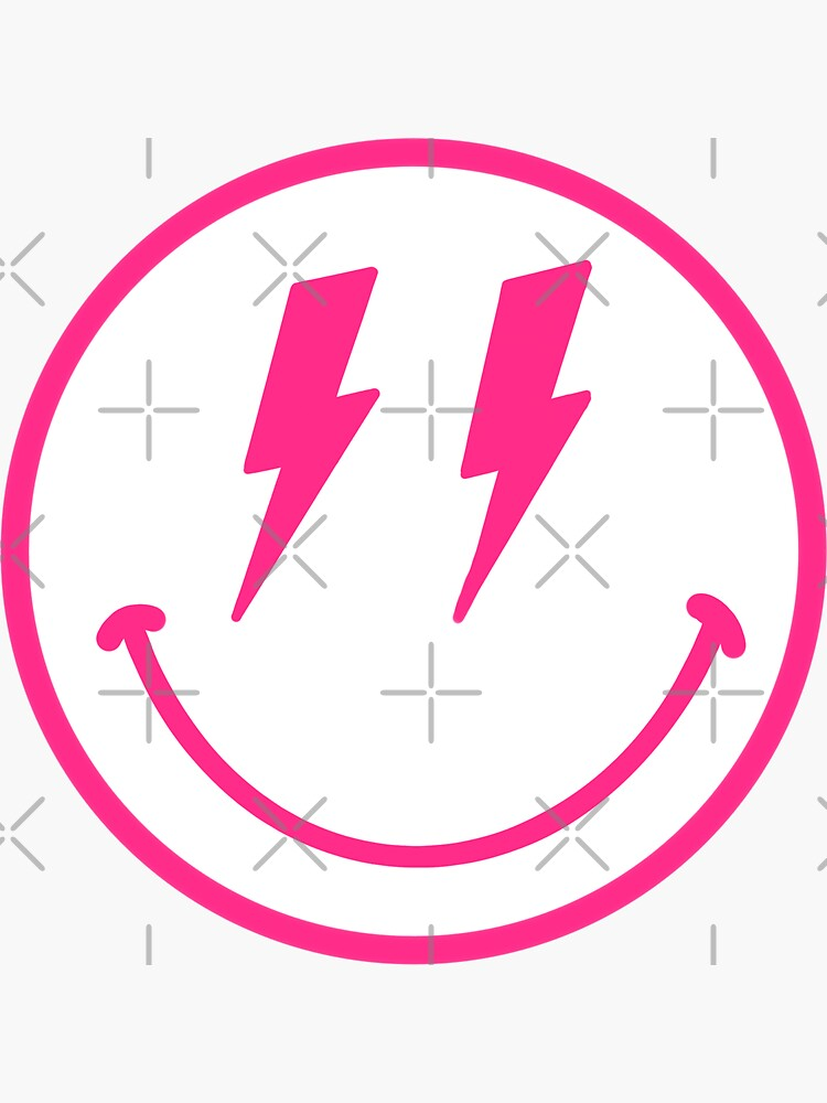 Pink Lightning Bolt Smiley Face by maggiet42