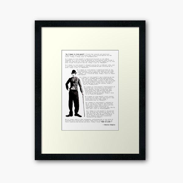 Cita de Charlie Chaplin; Cuando comencé a amarme Lámina enmarcada