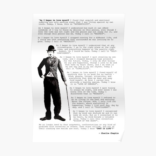 Cita de Charlie Chaplin; Cuando comencé a amarme Póster