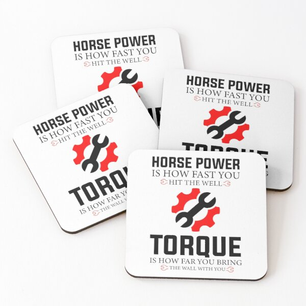 Funny Horsepower Torque Diesel Mechanic Gift Father's Day Coasters (Set of 4)