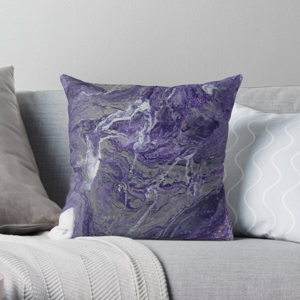 Purple and Grey Marble Throw Pillow