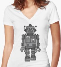 Vintage Robot Fitted V-Neck T-Shirt