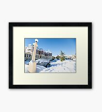 Blue sky after snow fall. Framed Print