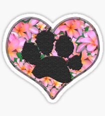 Paw Print in Heart with Flowers Sticker
