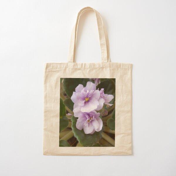 Pink African Violet Blooms Cotton Tote Bag