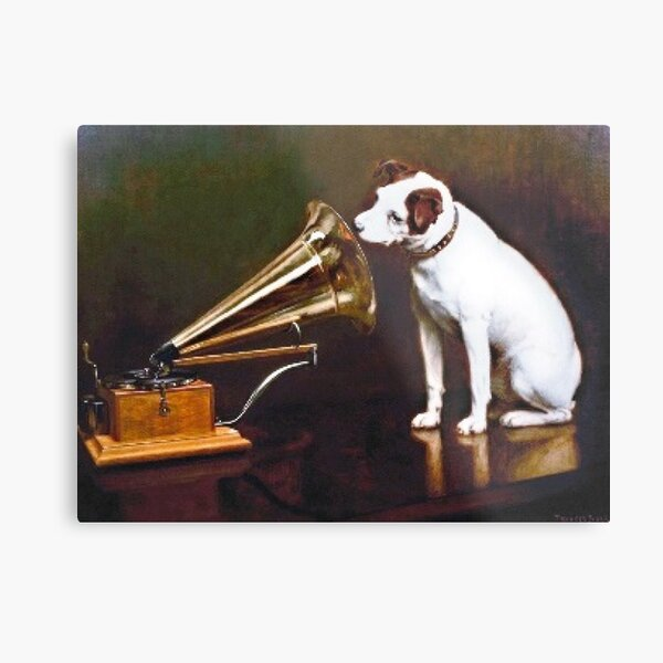 """""""His Master's Voice"""" by Francis James Barraud in 1898 Metal Print"""