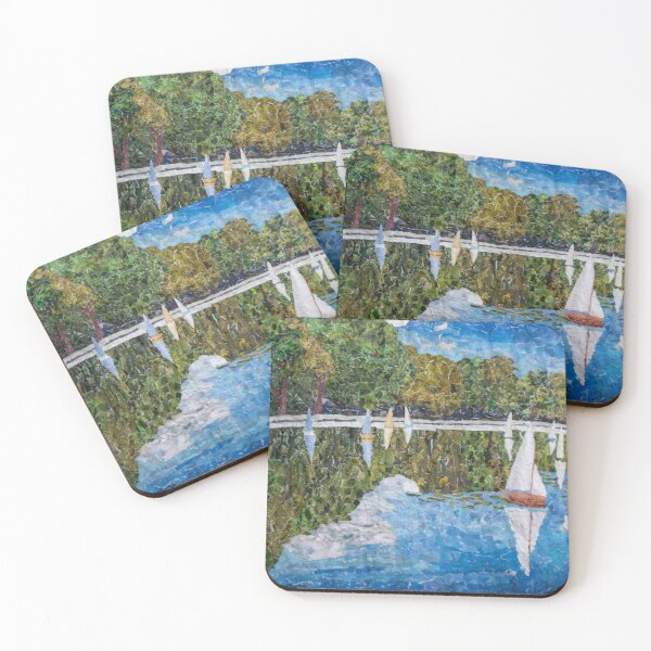 Sail Boat Pond - New York Collection Coasters (Set of 4)