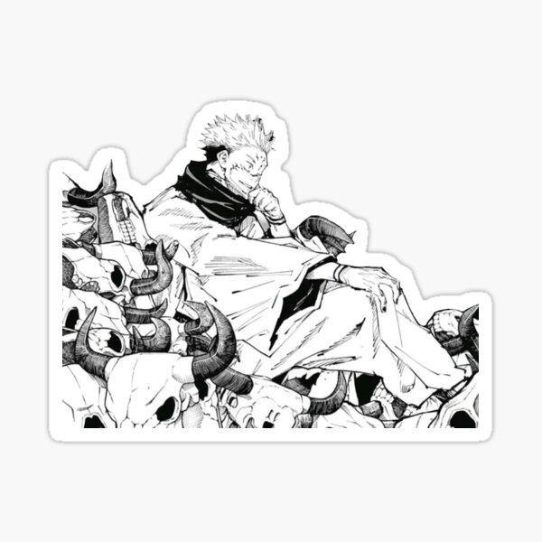 Ryomen Sukuna sitting on animal skulls Sticker